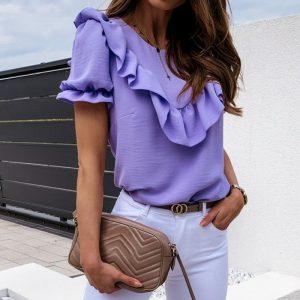Purple Ruffled Bohemian Top