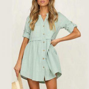 Bohemian Short Dress With Buttons