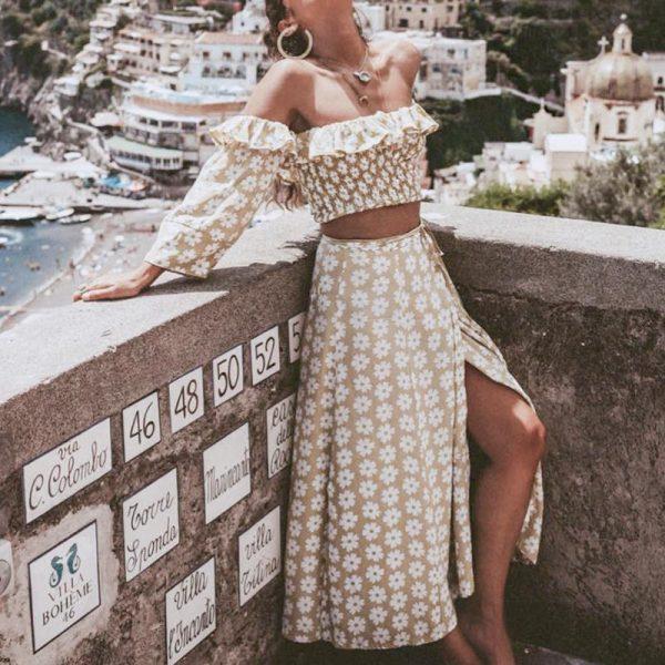 Conmoto Twist Off Shoulder Casual Women Dress Ruffle Beach Summer 2019 Dresses Female Floral Print Dress Suit Vestidos