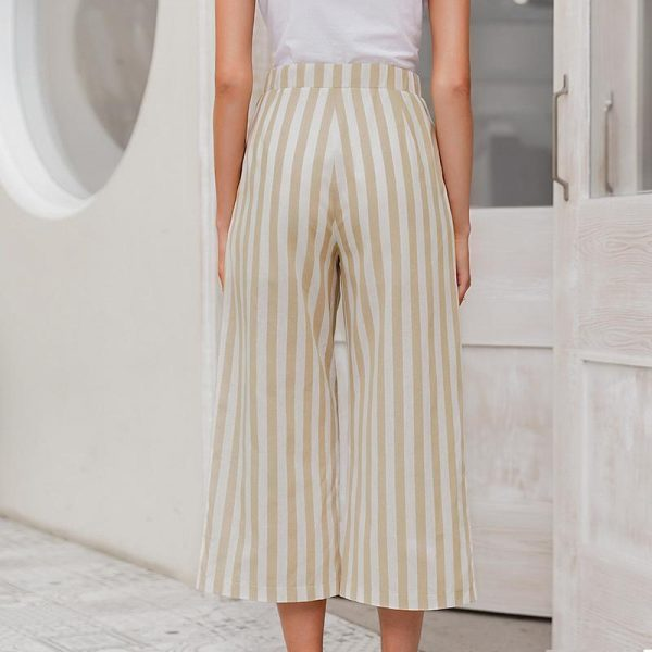 Simplee Casual Striped Wide Leg Pants Women Spring Summer High Waist Trousers Chic Streetwear Buttons Holiday Office Female Pant