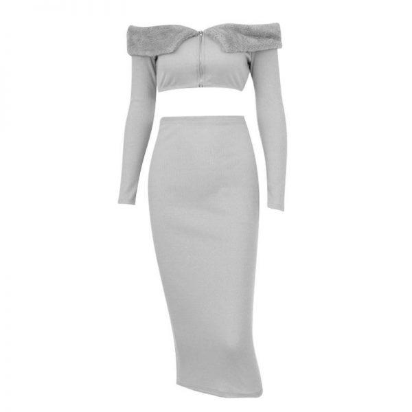 Glamaker Two Piece Set Gray Off Shoulder Dress Women Elegant Zipper Bodycon Autumn Dress Sexy Fashion Club Warm Dress Winter