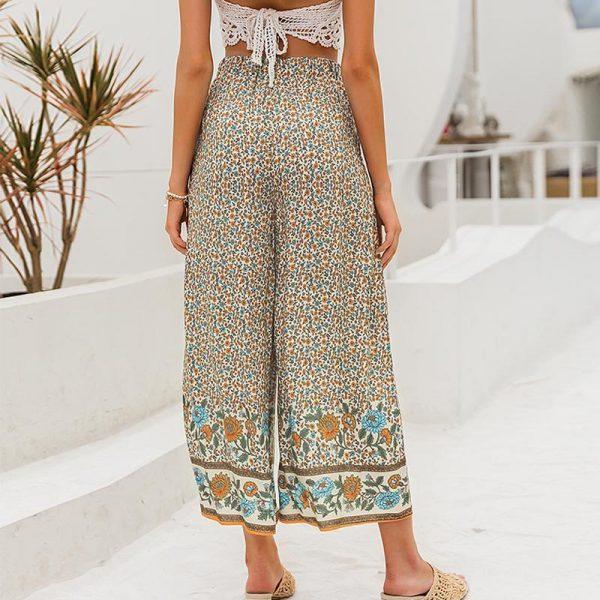Simplee Boho Vintage Print Long Women Summer Pants Bohemian Wide Leg Loose Pants Trousers Floral Holiday Beach Female Pants
