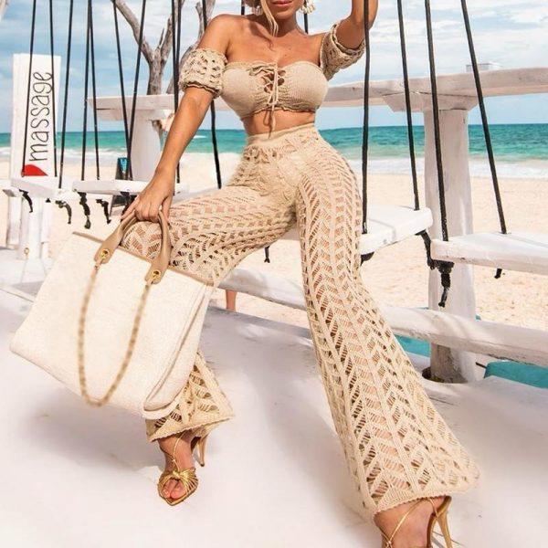 High Waist Beach Pants 2020 Fashion Crochet Fishnet Summer Beach Wear Women Hollow Out Swimsuit Cover-Ups Female Pants Kimono