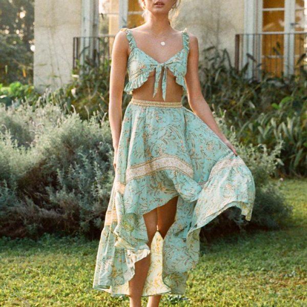 Conmoto Sexy Beach Boho Floral Maxi Dresses Women Plus Size Ruffles Summer 2020 Dress Asymmetric 2 Pieces Dress Suits Vestidos