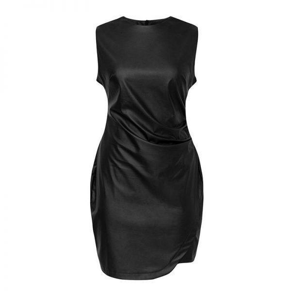 Sexy Hippie Black Leather Dress