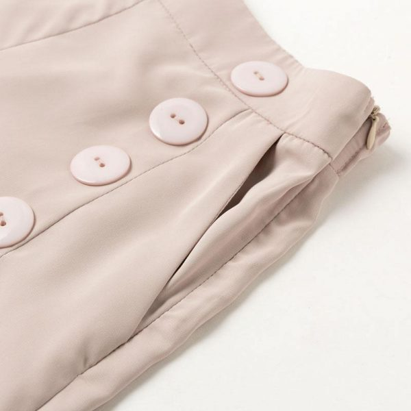 Vintage High Waist Casual Women Pants Summer Spring Solid Buttons Trousers Wide Leg Work Wear Office Lady Female Pants