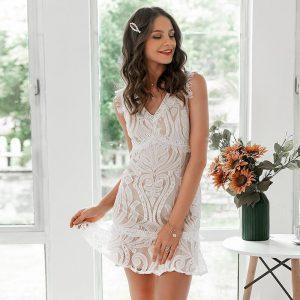 Bohemian White Lace Short Dress