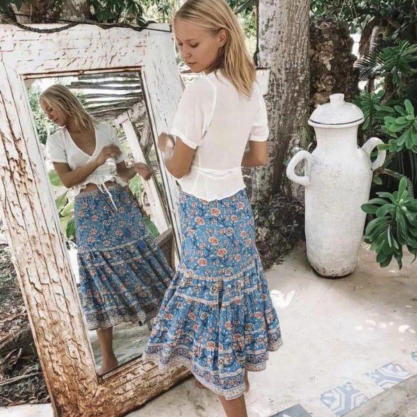 Long skirt boheme blue