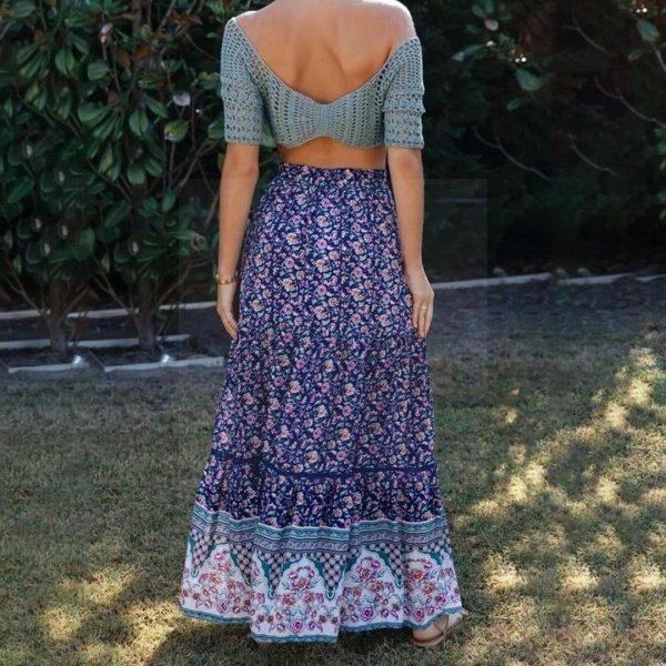Long skirt boheme navy blue