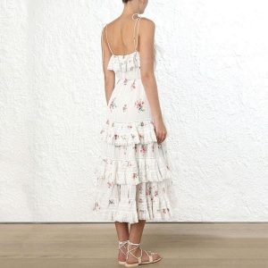 White bohemian style hippie maxi dress