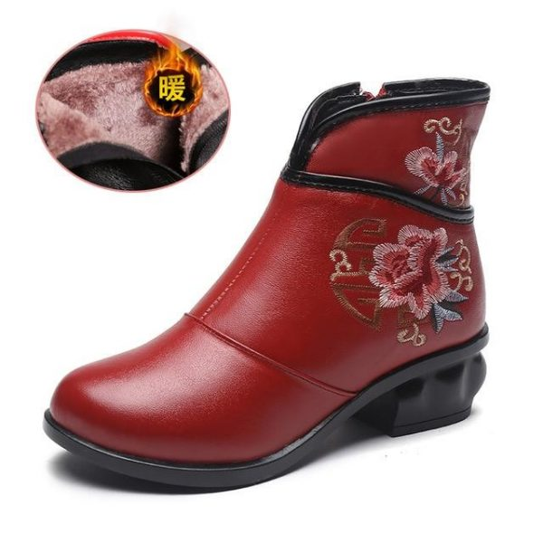 Asian Flower Embroidered Boots