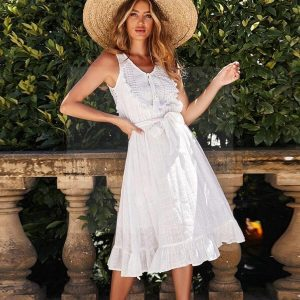 White boho cotton dress