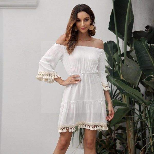 White dress boheme backless