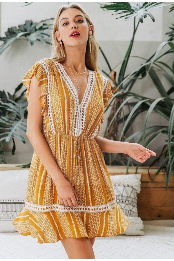 Bohemian chic cotton dress