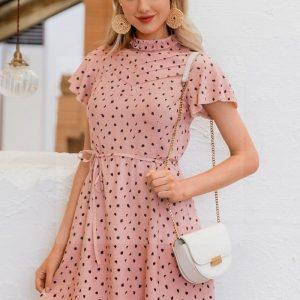 Bohemian chic powder pink dress
