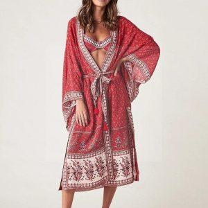 Red Bohemian Short Dress
