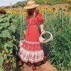 Red bohemian maxi dress
