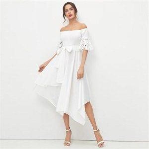 Dress boheme style chic white long