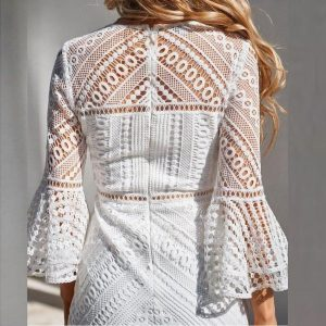 White lace hippie chic dress