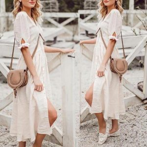 White bohemian maxi dress