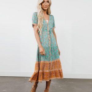 Bohemian long dress with tie-dye print