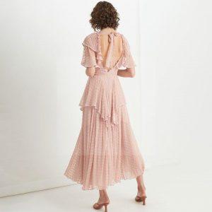 Bohemian chic powder pink maxi dress